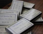 50 Custom Designed Matchbox Wedding Favors - Sparks Style