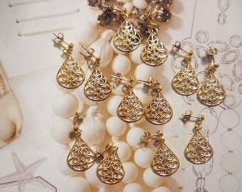 6 Prs. Vintage Goldplated Filligree Earrings