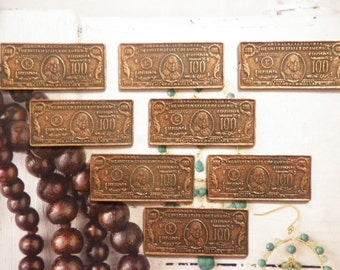 8 Vintage Coppercoated 40mm 100 Dollar Bill Stampings