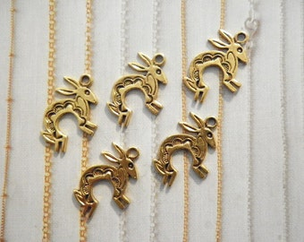 6 Goldplated 27mm Rabbit Charms