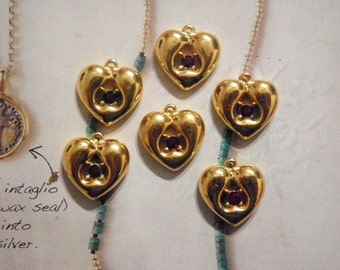 6 Goldplated 15mm Heart Pendants with Ruby Red Stone