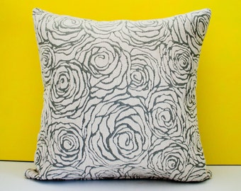 Grey off white decorative throw pillow cover, accent pillow, cushion cover, beige pillow case, pillowcase, modern pillow - 18 x 18 inches