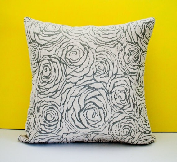 Items similar to Grey off white decorative throw pillow cover, accent pillow, cushion cover ...