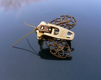 Steampunk Moth Zipper Brooch - Zipper Pin - Steampunk Jewelry
