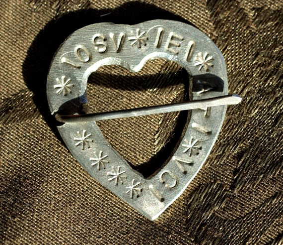 "Pewter Heart Brooch with ""Here I am Yours"" in 14th c French"