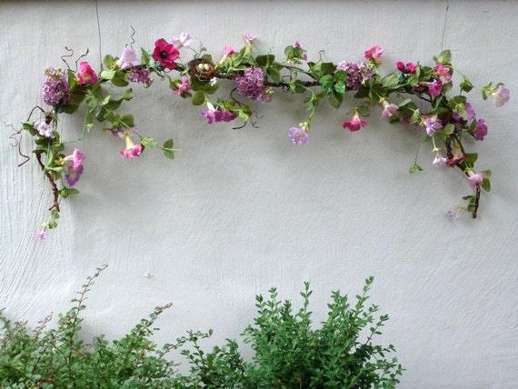 Spring Garland Silk Morning Glories Lilac Sweet Peas Mauve
