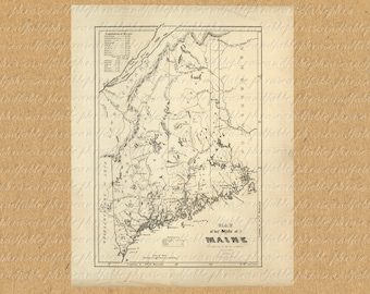 Map of Maine From The 1800s Antique Printable Digital Image Download America United States New World 209 Portland Lewiston Bangor