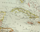 1897 Antique map of THE ANTILLES ISLANDS: Cuba, Jamaica, Puerto Rico, Haiti, Dominican Republic and others. 119 years old chart