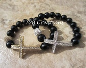 Sideways Cross Bracelets - Onyx