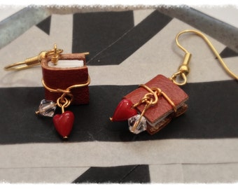 Miniature Book Birthstone Earrings, April Diamond Colored Genuine Swarovski Crystal with Surgical Steel Earwires - GE39