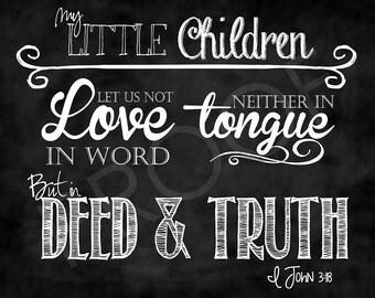 Scripture Art - I John 3:18 Chalkboard