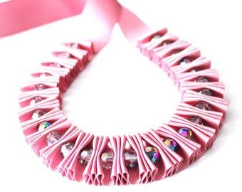 Ribbon Jewelry, Dusky rose ribbon jewelry