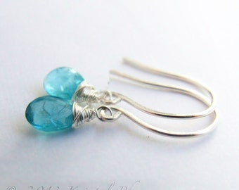 Apatite Earrings - silver dangle drop sterling petite paraiba aqua swiss turquoise blue natural gemstone Gift