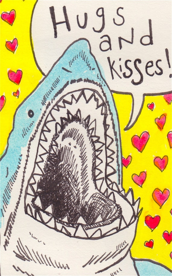valentines day card shark - Ten Pack Shark Attack Hugs and Kisses Blank