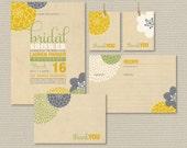 Printable Bridal Shower Invitation Party Pack - Modern Flower Design on rustic background