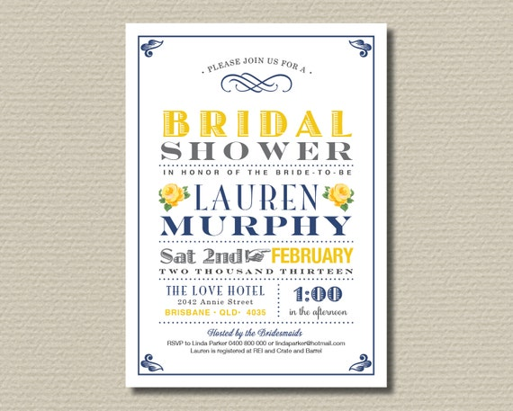 Printable Bridal Shower Invitation - Navy and yellow vintage poster design with sweet roses (BR49)