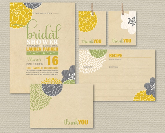 Printable Bridal Shower Invitation Party Pack - Modern Flower Design on rustic background
