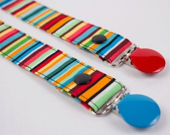 Color Stripe pacifier clip: MAM,Avent,Soothie,Gumdrop,Nuk