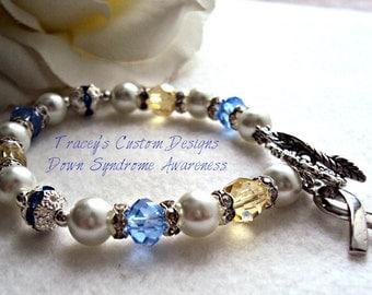 Stunning DOWN SYNDROME AWARENESS Bracelet - Custom made jewelry.