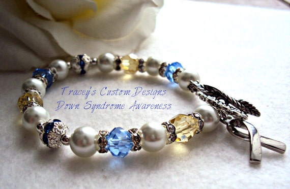 Stunning DOWN SYNDROME AWARENESS Bracelet - Custom made jewelry.