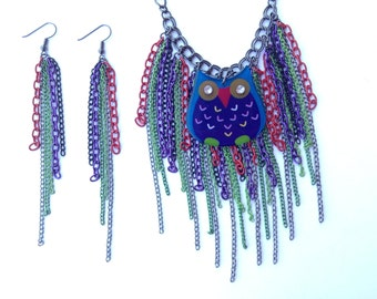 Owl Necklace-Fringe Necklace-Bib-One of a Kind-Hand-Made-Designs by Stalinda