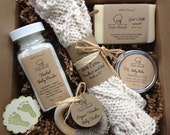 Baby Bath Gift Set - All natural organic baby soap, baby powder, baby balm, cotton washcloth & wooden teether