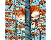 Cat in Tree - Orange Tabby Autumn Tree Fall Leaves 10x10 Glicee Print from original painting Korpita ebsq