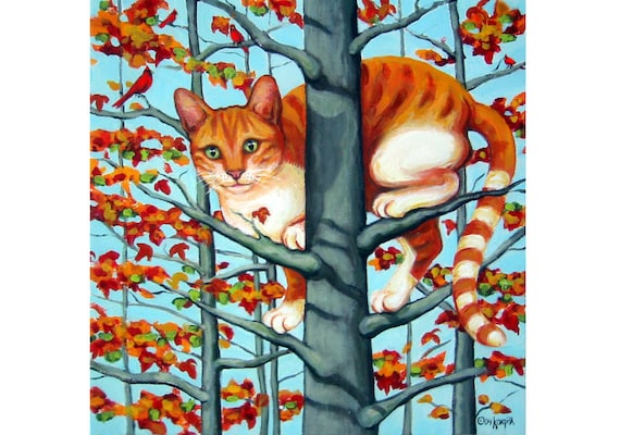 Cat in Tree - Orange Tabby Autumn Tree Fall Leaves 10x10 Glicee Print from original painting Korpita ebsq