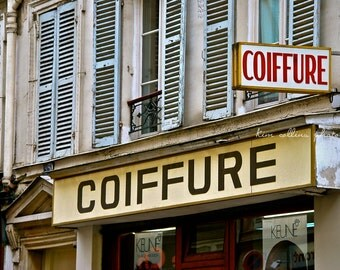 Parisian Coiffure,Storefront,Paris,Fine Art Photography,multiple sizes available,Signage,Hairstylist, Hair, Hairdresser,French,Home Decor
