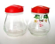 2 Diner Condiment Container Anchor Hocking 1950s Diner Red Top