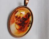 Bronze medallion oval glass Blythe Pull Charm - dog