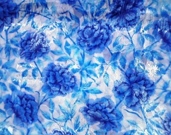 Silky Blue Floral Blouse Fabric...2 1/2 Yards