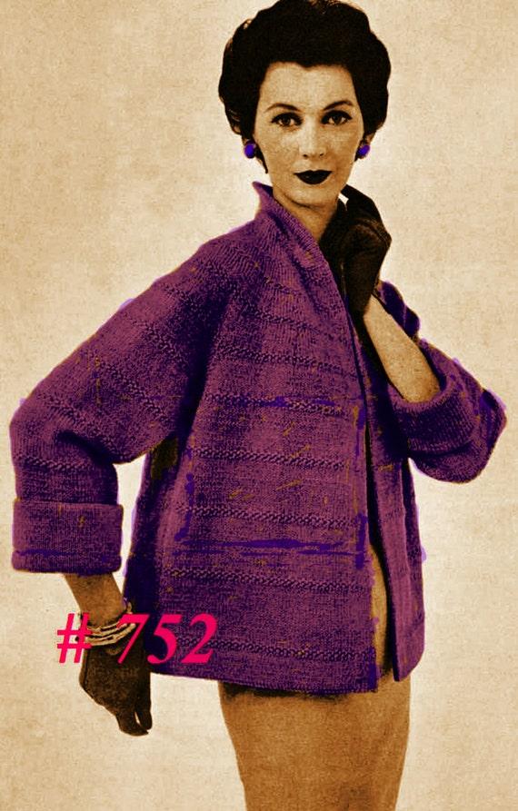 Vintage 1955 Elegant Jacket in Two Lengths 752 PDF Digital Knit Pattern