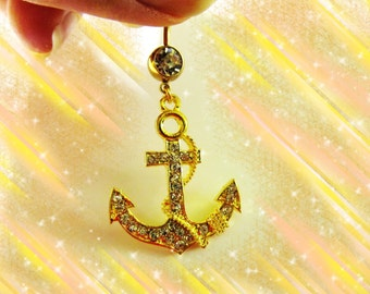 SALE---Belly Ring, Shimmery 14K Gold CZ Crystal Nautical Ship Anchor, Belly Button Jewelry, For Women and Teens, For Women and Teens