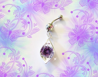 SALE-Belly Ring, Purple Amethyst Crystal Drop With 925 Sterling Silver Filigree Tear, CZ Crystal, Belly Button Jewelry For Women and Teens