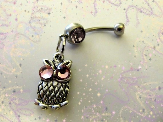 SALE--Belly Ring,Mini Owl with Crystal Pink Eyes Belly Button Jewelry, For Women and Teens, Belly button Jewelry For Women and Teens