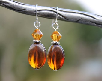 Amber and crystal beaded earrings