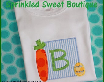 Carrot Patch Monogram Easter Boys or Girls Applique Shirt