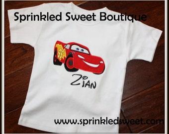 Custom  Applique Disney Cars Lightening McQueen Shirt