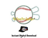 DD Baseball & Bat Open Edge Applique - Machine Embroidery Design - Great For Cadet Caps or Totes