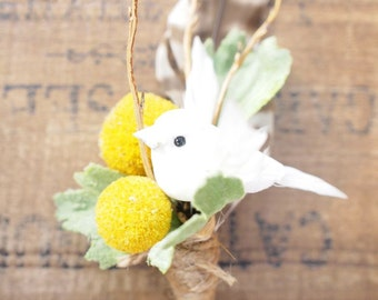 Love Bird Boutonniere, wedding buttonhole , natural keepsake