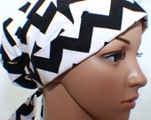 Surgical Scrub Hat, Pleated with band, Black & White Chevron 20% off Regular Price