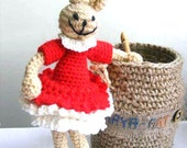 bunny girl in red dress, crochet toy, rabbit a gift for Easter