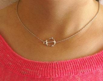 Silver Anchor Necklace - Tiny Silver Anchor Charm Necklace w/ Neon Pink Pendant (Available also in Gold) - Nautical Necklace