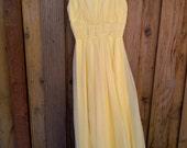 Beautiful Vintage Yellow Chiffon Dress - Size Extra Small