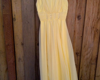 Beautiful Vintage Yellow Chiffon Dress - Size Extra Small