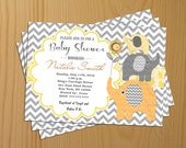 Chevron Baby Shower Invitation Boy Baby Shower Invitation Girl Baby Shower Invitaton gray yellow FREE Thank You card Baby Shower Invite