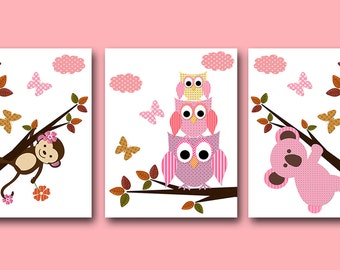 Baby Girl Nursery Art Print Childrens Wall Art Baby Room Decor Kids Print Nursery Decor Girl set of 3 Monkey Koala Owls Rose Pink