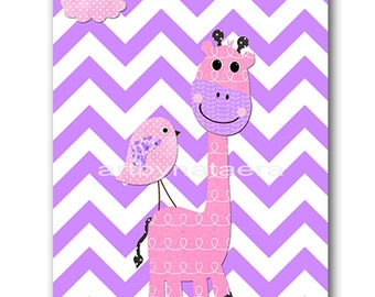 Giraffe Nursery Baby Girl Nursery Art Nursery wall art baby nursery decor kids room decor Kids Art Girl Print giraffe bird rose purple