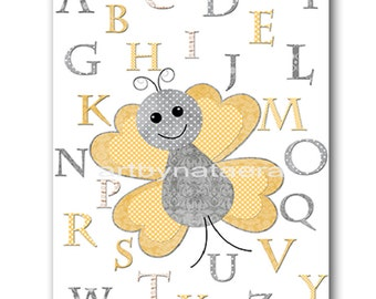 Alphabet Nursery Alphabet Baby Girl Nursery Art Nursery Wall Art Kids Room Decor Kids Art Girl Print Butterfly Nursery Gray Yellow